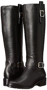 Cole Haan Leather Boot Knee High Nubuck Black Boots