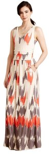Grey, red Maxi Dress by Anthropologie Maxi Maxi