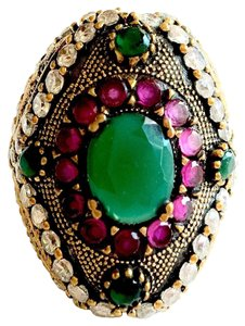 Emerald, Ruby and White Topaz Sterling Silver & Bronze Ring 7.5
