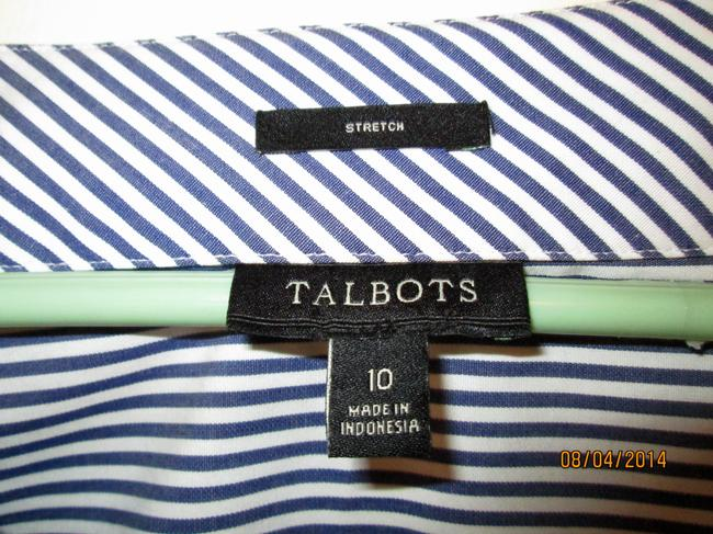 Talbots Tailored Embellished Casual Nautical Top Navy Blue and White Striped