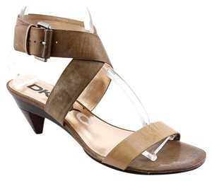 DKNY Leather Strappy Rubber Sole Brown Sandals