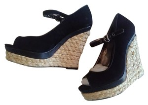 Charles David Black Suede with leather trim Wedges