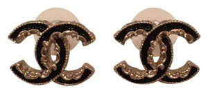 Chanel Gold hardweare with black enamel CC Chanel earrings