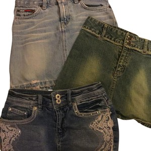 Guess jeans, tommy hilfiger, vanilla Short Western Country Chic Mini Skirt Blue