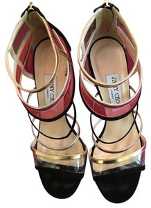 Jimmy Choo Strappy Sexy Suede Black with multi color Formal