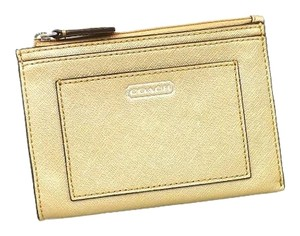 Coach Leather Wallet Wristlet in Gold