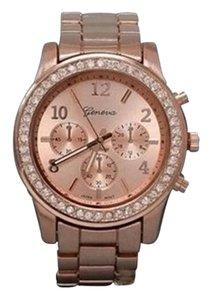 Geneva Luxury Boyfriend Women 's Watch Rose Tone Bling Watch