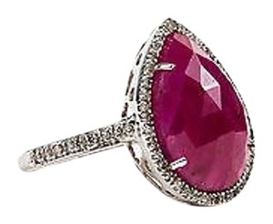 Other 18k White Gold Ruby Pave Diamond Pear Tear Drop Cocktail Ring