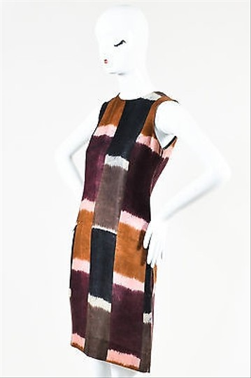 Marni Black Brown Purple Patchwork Tie Dye Printed Sleeveless Shift Dress low-cost