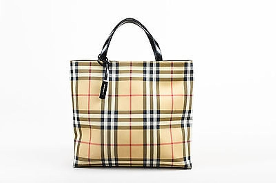 4ce92d05ee4d Burberry Tan Black Red Coated Canvas Novacheck Tote in Multi-Color ...