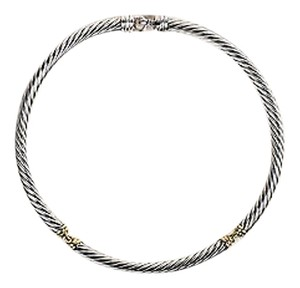 David Yurman David Yurman Sterling Silver 14k Yellow Gold Accented Cable Choker Necklace