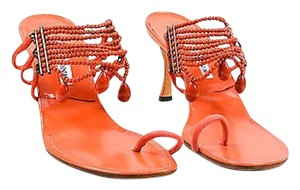 Manolo Blahnik Leather Coral Sandals