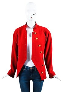 Chanel Gold Tone Wool Coin Button Stand Up Collar Ls Red Jacket