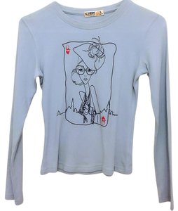 Konzen poker face queen of hearts long sleeve tee T Shirt blue
