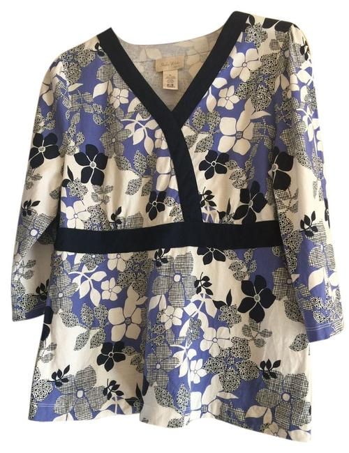 Preload https://img-static.tradesy.com/item/1865343/studio-works-periwinkle-navy-blue-and-white-blouse-size-petite-12-l-0-0-650-650.jpg