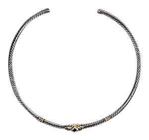David Yurman David Yurman Sterling Silver 14k Gold Green Onyx Amethyst Cable Necklace
