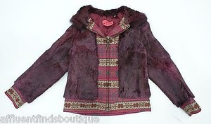 Etro Rabbit Fur Burgundy Jacket
