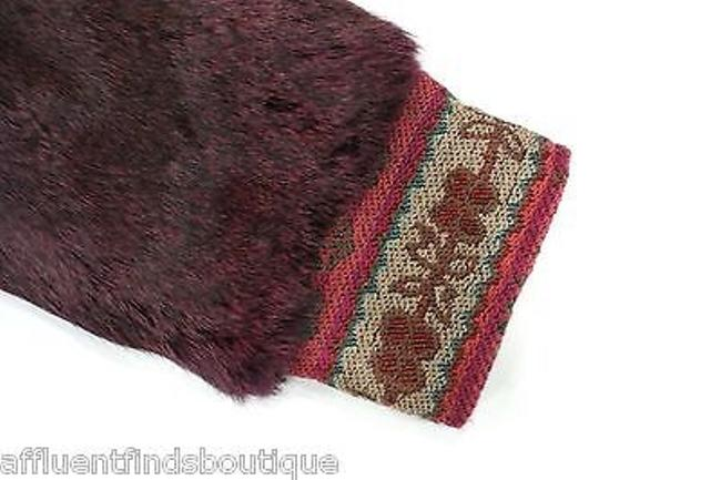 Etro Rabbit Fur Embroidered Hooded Burgundy Jacket