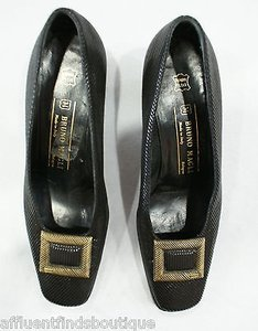 Bruno Magli Heels Gold Buckle Or Blacks Pumps
