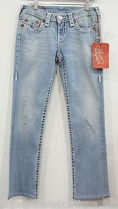 True Religion Gina Super T Light Wash Style 10579bt2 Straight Leg Jeans
