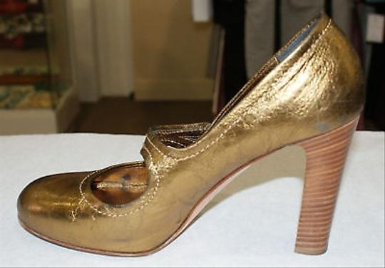 Coach Italy Fara Gold Stacked Heel Metallics Pumps