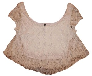 Full Tilt Crop Lace Stretchy Top White