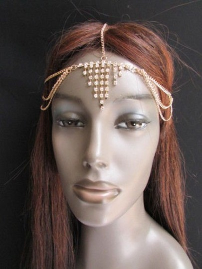 Alwaystyle4you Women Gold Metal Head Chain Jewelry Hair Silver Rhinestones Image 10