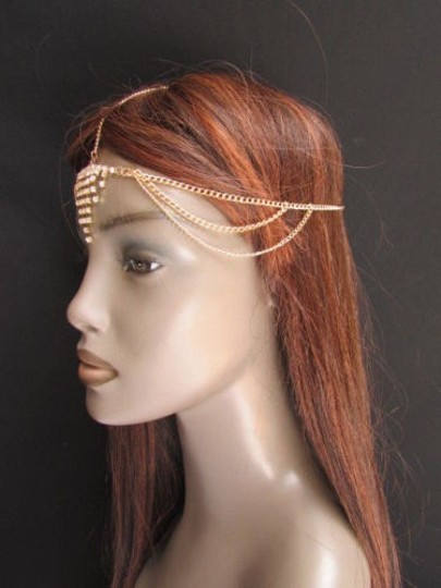 Alwaystyle4you Women Gold Metal Head Chain Jewelry Hair Silver Rhinestones Image 2