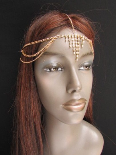 Alwaystyle4you Women Gold Metal Head Chain Jewelry Hair Silver Rhinestones Image 3