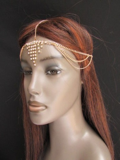 Alwaystyle4you Women Gold Metal Head Chain Jewelry Hair Silver Rhinestones Image 5