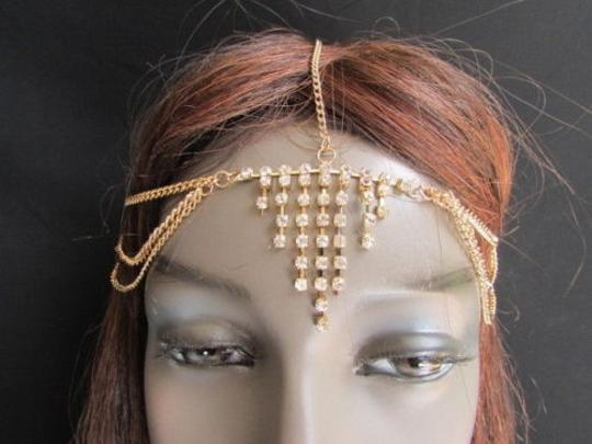 Alwaystyle4you Women Gold Metal Head Chain Jewelry Hair Silver Rhinestones Image 6