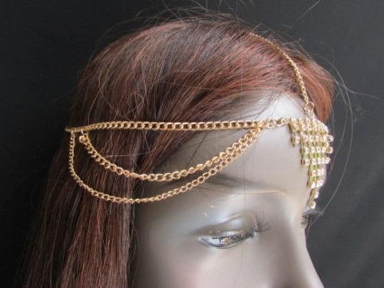 Alwaystyle4you Women Gold Metal Head Chain Jewelry Hair Silver Rhinestones Image 7