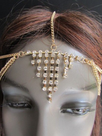 Alwaystyle4you Women Gold Metal Head Chain Jewelry Hair Silver Rhinestones Image 9