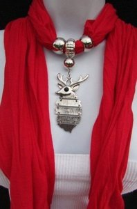 Women Fashion Soft Scarf Big Silver Metal Christmas Deer Pendant Red White