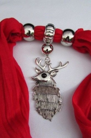 Alwaystyle4you Women Scarf Big Silver Metal Christmas Deer Pendant Red White Image 10