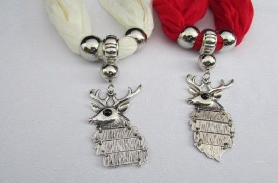 Alwaystyle4you Women Scarf Big Silver Metal Christmas Deer Pendant Red White Image 2