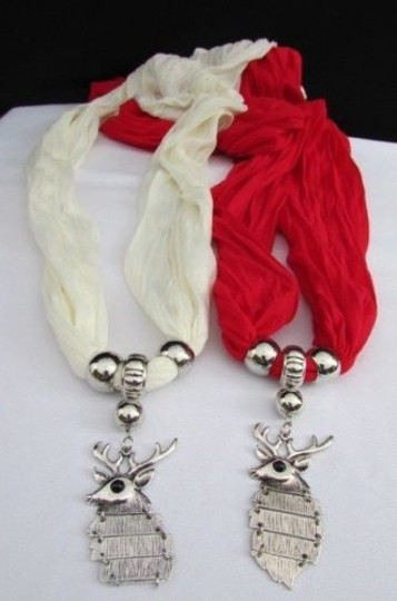 Alwaystyle4you Women Scarf Big Silver Metal Christmas Deer Pendant Red White Image 3