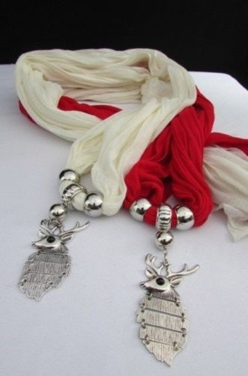 Alwaystyle4you Women Scarf Big Silver Metal Christmas Deer Pendant Red White Image 5