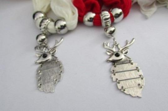 Alwaystyle4you Women Scarf Big Silver Metal Christmas Deer Pendant Red White Image 7