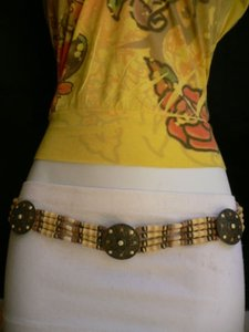 Other Women Low Hip Waist African Fashion Wood Medallions Belt Brown Dots