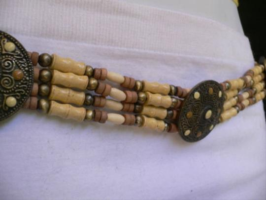 Alwaystyle4you Women Low Hip Waist African Wood Medallions Belt Brown Dots Image 3