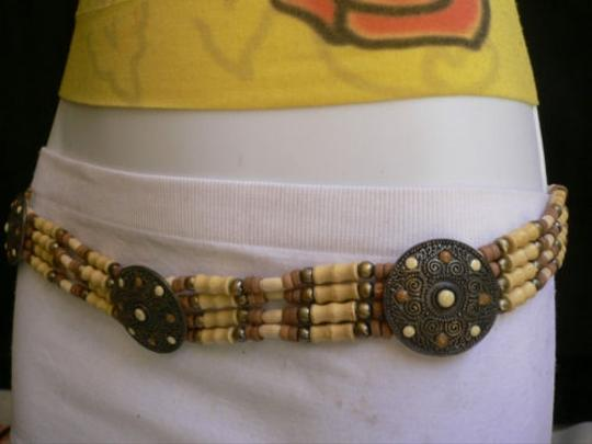 Alwaystyle4you Women Low Hip Waist African Wood Medallions Belt Brown Dots Image 6