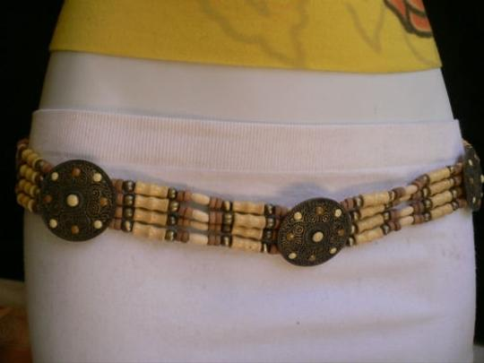 Alwaystyle4you Women Low Hip Waist African Wood Medallions Belt Brown Dots Image 8