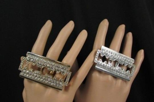 Alwaystyle4you Women Big Silver Gold Metal Shaving Razor Fashion Ring One Fits All Image 10