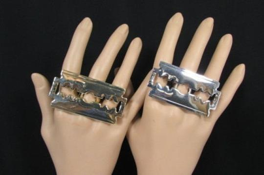 Other Women Big Silver Gold Metal Shaving Razor Fashion Ring One Fits All