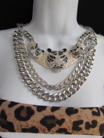 Other Women Silver Wide Fashion Necklace Earring Set Panther Tiger Pendant Safari