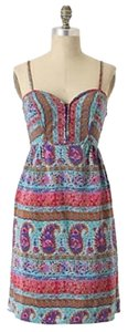 Anthropologie short dress Teal, pink, orange on Tradesy