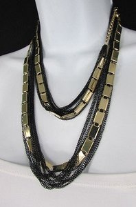 Other Gold Silver Women Long Necklace Multi Strands Balck Thin Chains Dressy Style
