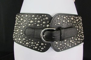 Women 4.5 Wide Black Elastic Hip Waist Fashion Belt Silver Studs 26-31