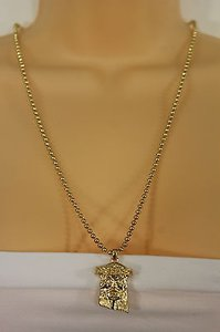 Other Women Gold Long Necklace Fashion Metal Chains Jesus Christ Face Head Pendant